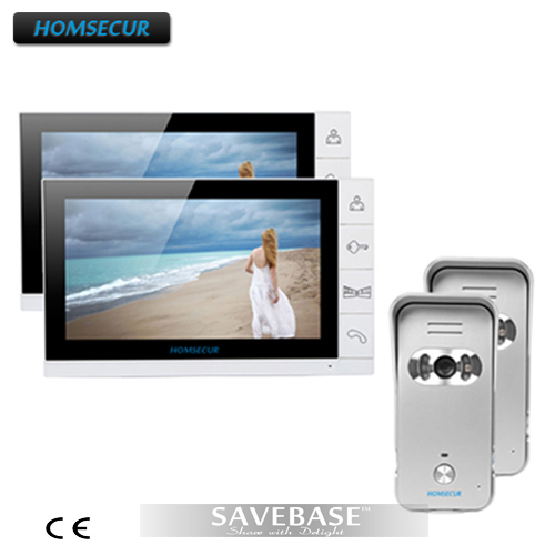HOMSECUR 9 Wired Video Door Phone Home Intercom System 2 Monitors 2 Silver Camera 700TVL