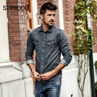 SIMWOOD 2017 Autumn Denim Shirts Men Slim Fit Casual Cotton Shirt Long Sleeve Vintage Pocket Brand