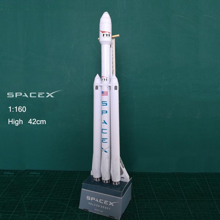 42cm 1:160 SpaceX Falcon Heavy-duty Rocket 3D Paper Model Puzzle Student Hand