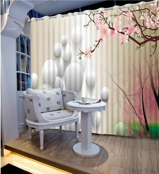 Print 3D Blackout Curtains For Living Room Bedding Room Drapes Cotinas Para Sala White Ball Pink Flowers 3D Curtains