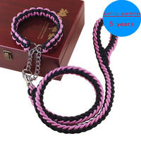 2016 New Upgraded Color Collar Stereotyped Rope Large Dog Leashes Pet Traction Rope Collar Set For