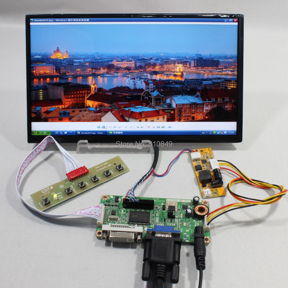 DVI+VGA lcd controller board+10.1inch N101BCG-L21 1366*768 IPS Lcd panel стоимость