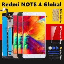 Digitalizador touchscreen para xiaomi redmi note 4, display global, peças de reparo com moldura, snapdragon 625