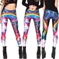 2015 Impressa Do Unicórnio Do Arco Apertado Mulheres Calça Jeans Estilo de Rock Sexy Academia Feminino