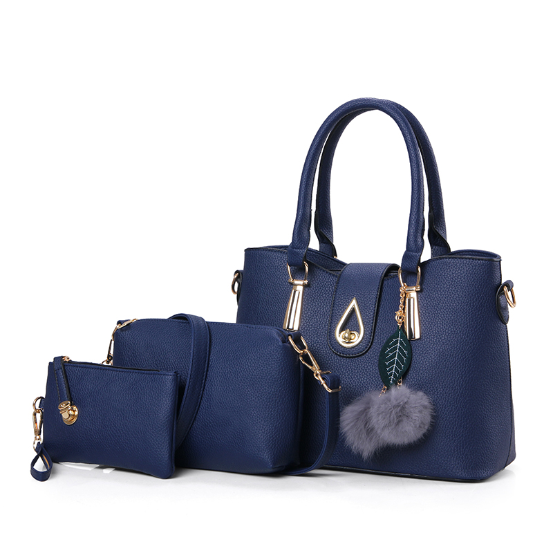 Lady bags 2018 womens bag new large shoulder bag 3 pcs/set handbag single hand steamed s ...
