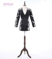 Open Back HVVLF 2017 Celebrity Dresses Sheath Deep V Neck Short Mini Black Satin Appliques Sequins