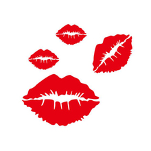 CDCOTN 4Pcs Car Sticker Sexy Red lip Scratch Electric Motorcycle Body Front And Rear Bumper Creative Stickers Auto Products