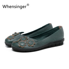 Whensinger – 2016 Autumn New Arrival Genuine Leathe Flats Round Toe Flowers Decoration Rubber Sole 2 Color Y1601