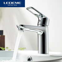 LEDEME Basin Faucet Tap Bathroom Faucet Handle Hollow Brass Vessel Sink Water Mixer Finish Chrome Modern Waterfall Faucets L1049