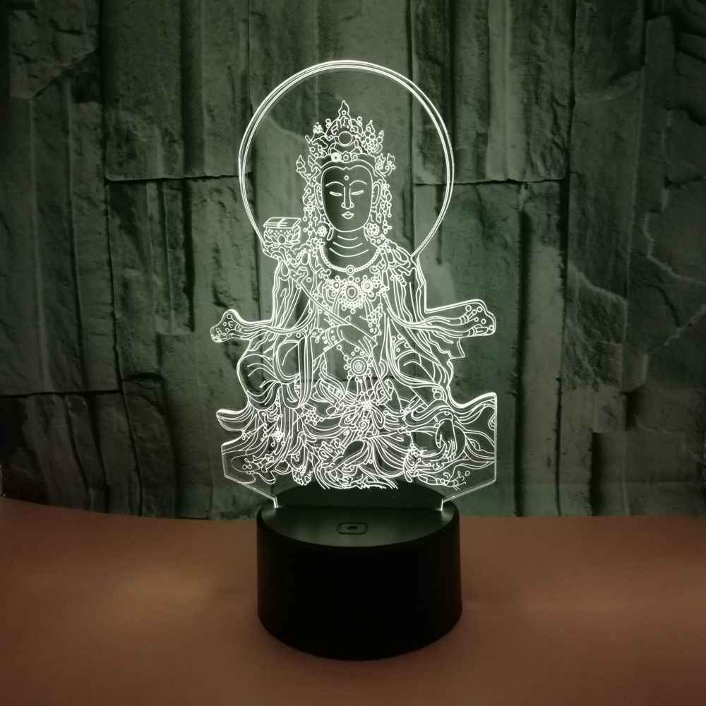 Buddha 3d Small Table Lamp Colorful Touch 3d Visual  Desk Lamp Foreign Trade Gift Custom Colorful 3d Small Night Light