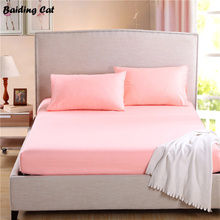 Home Textile Soft Cotton Fitted Sheet Pink Bed Mattress Cover Bed Sheet Fitted Sheet Bed Spread 25cm Deep Twin Full Queen King
