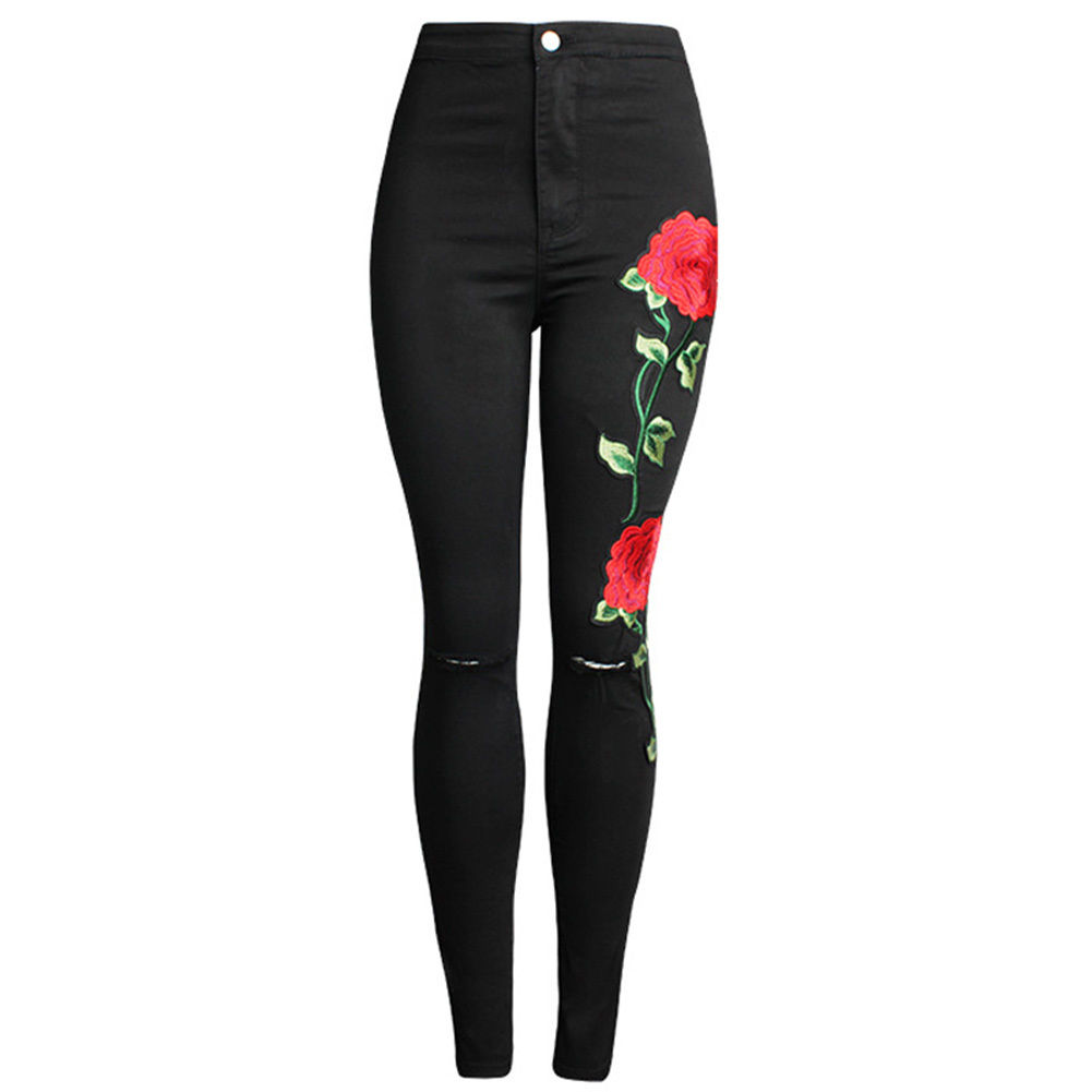 US Pants Women Knee Rip Embroidered Skinny Stretch High Waist Jeans Pencil Trouser