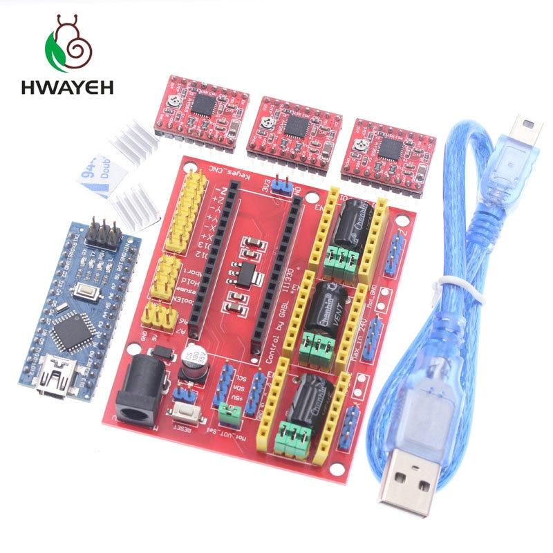 Spedizione gratuita! Macchina per incidere di CNC shield V4 3D Stampante + 3 pz A4988 driver di scheda di espansione NANO V3. 0 con il cavo USB NANO 3.0