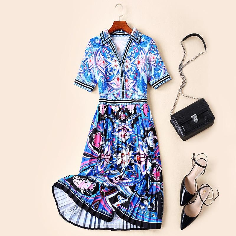 Goodlishowsi 2019 여름 새 스타일 여성 드레스 pleated v 칼라 rrgular 하이 스트리트 기하학 인쇄 긴 드레스-에서드레스부터 여성 의류 의  그룹 1