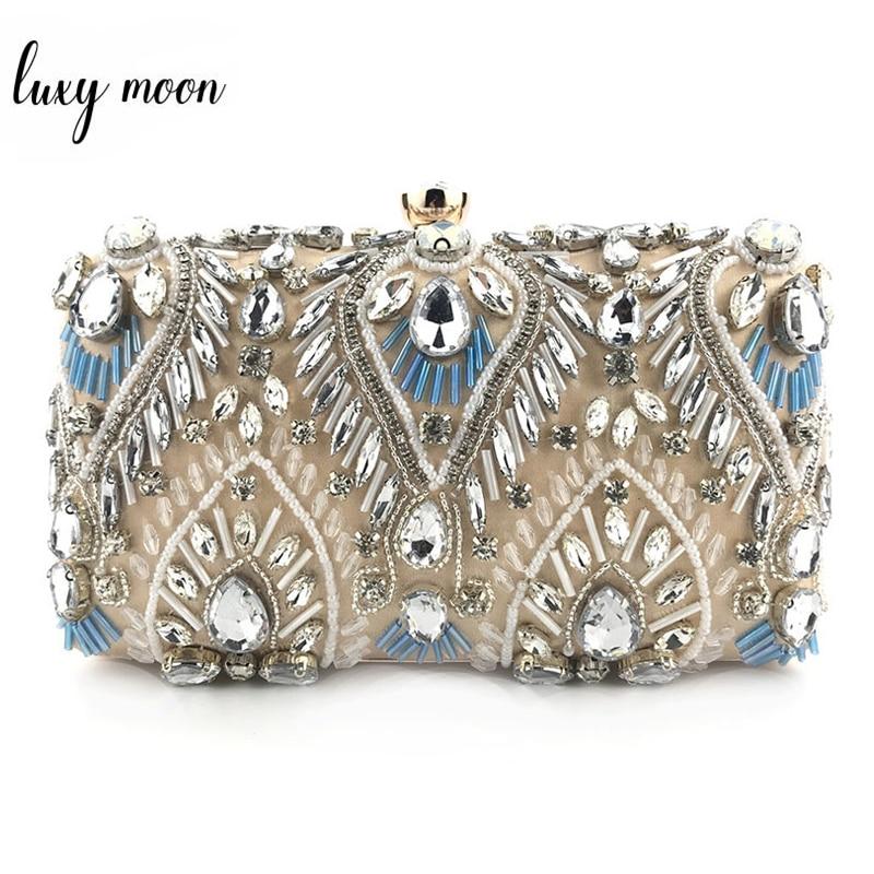 Luxury Diamond Rhinestone Clutch Bags Exquisite Female Clutches Pearls Handmade Beaded Chain Handbags Wedding Purse Shouler Bag