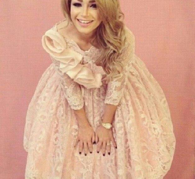 2014 ssj Cute Jewel Neckline Flower Elbow Sleeve Knee Length Lace Prom Cocktail Dresses