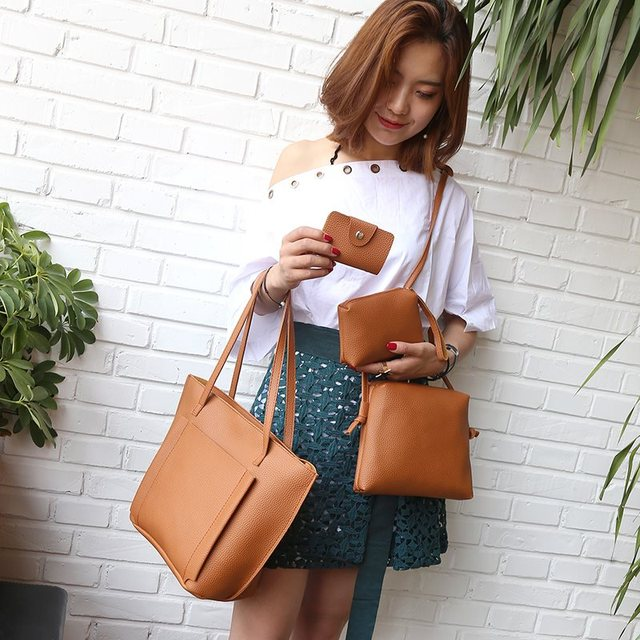 Osmond 4pcs Women Bag Set PU Leather Composite Bags Large Shoulder Crossbody Bag Fashion Clutches Vintage Handbag Casual Purse