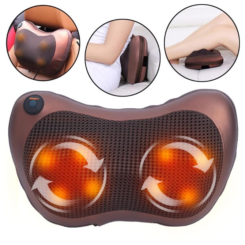 Neck Massager Shoulder Back Leg Body Massage Pillow Electric Shiatsu Spa Home/Car Relaxation Pillow with LED Light Heating