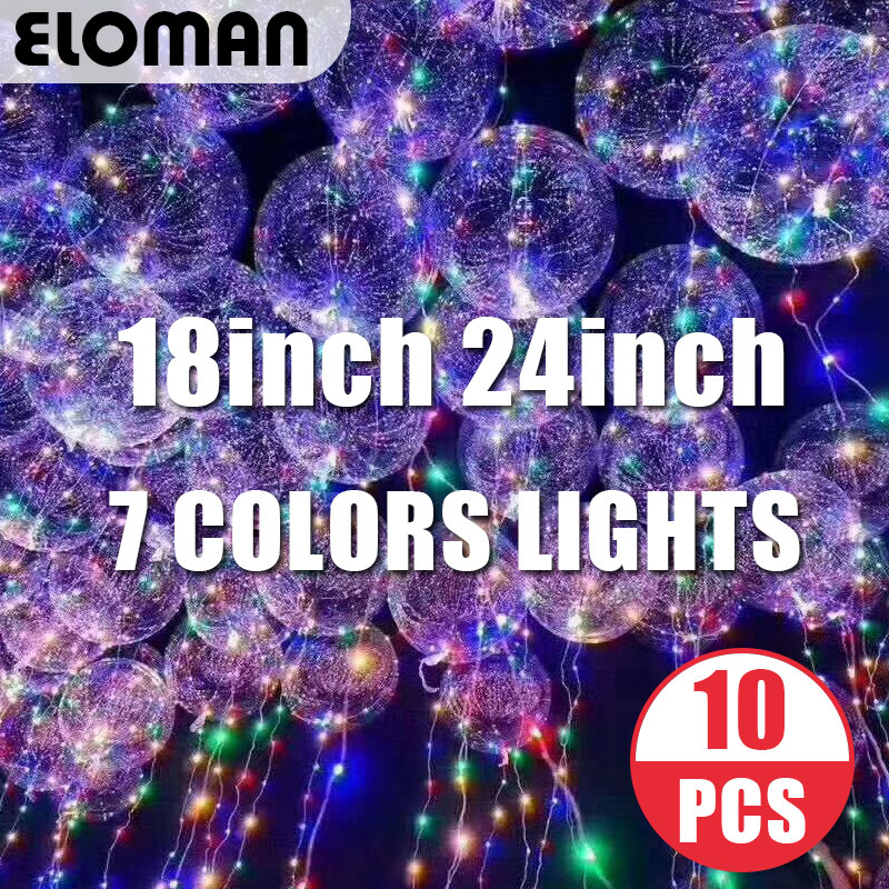 ELOMAN 10PCS LED balloons wedding event home birthday party decorations Led linghts super clear Bobo balloons 18inch 24inch