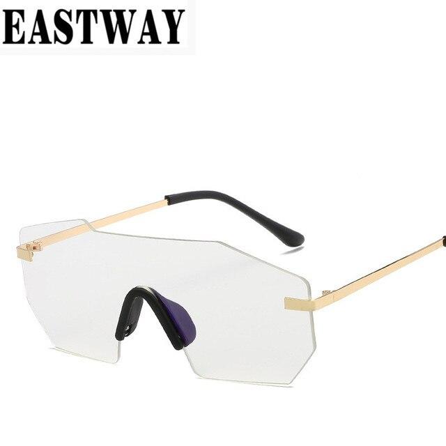 8c4fc0b8ec1 EASTWAY Hot Rimless Sunglasses Women Brand Designer Men Square Reflective  Classic Mirror Retro Sunglasses Vintage Eyewear