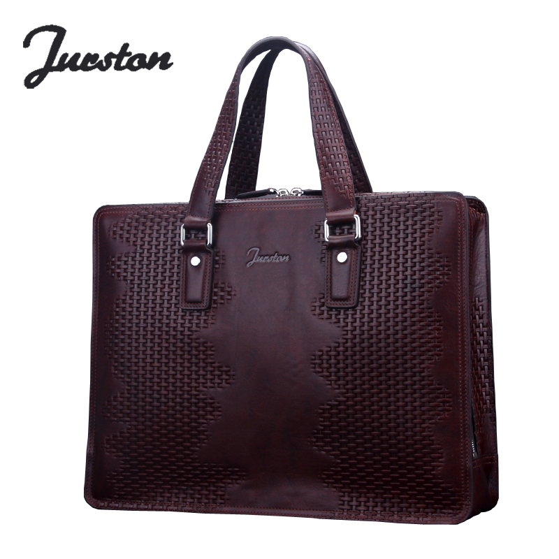 Wire man bag commercial genuine leather male cowhide cross-body handbag knitted one shoulder computer briefcase
