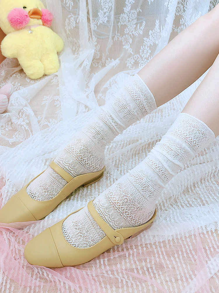 Princess Sweet Lolita Stockings Japanese Girls Mesh Pile Stockings Spring And Summer Thin Medium Hollow Stockings WGR011