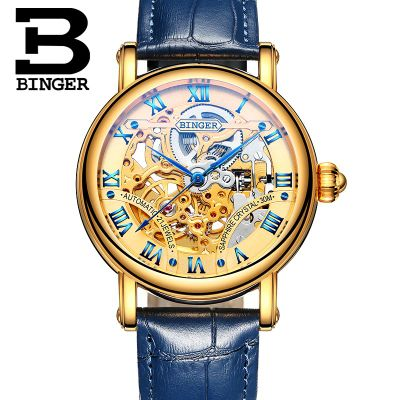 ФОТО Binger Vintage Fashion Skeleton Men Watch Man Hollow Leather Automatic Wristwatch Excellent Quality Luxury Watch Montre Femme