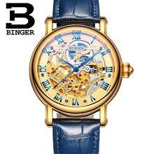 Бингер Винтажной Моды Скелет Мужчины Смотреть Человек Полые Кожа Автоматическая Наручные Часы Отличное Качество Роскошные Часы Montre Femme