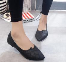Europe and the United States women's shoes, 2016 new fashion shallow mouth pointed checkered black shoes flat shoes