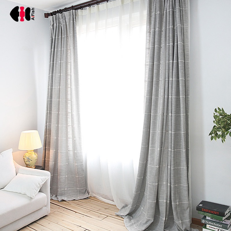 Simple Solid Plaid Cotton Linen Curtains Grey Coffee Semi