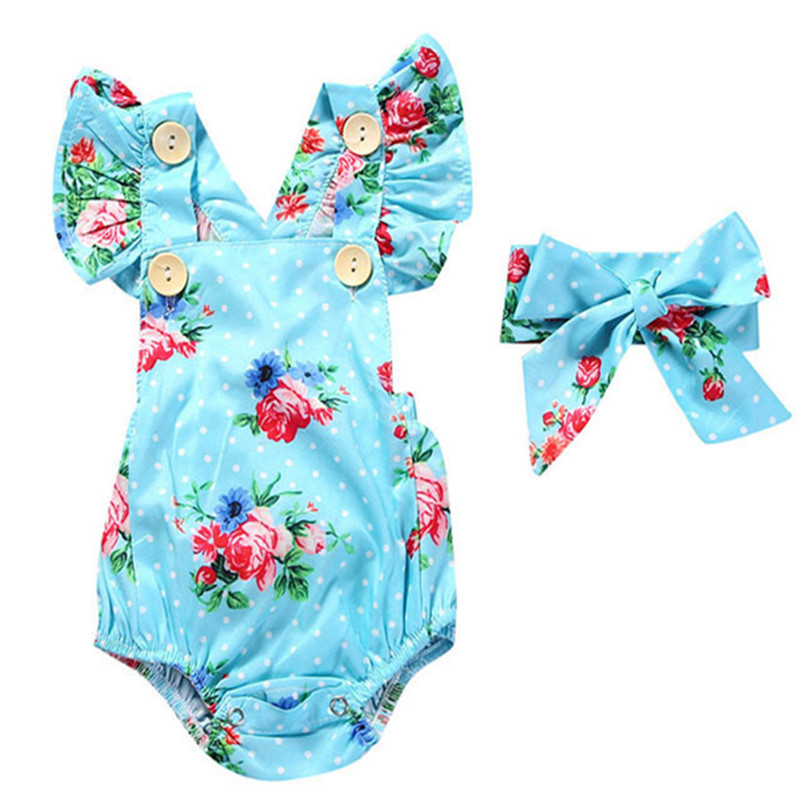 Newborn Baby Girl Boysuit Summer Clothes Floral Sleeveless Bodysuit with Headband Jumpsuit Baby Girls Clothing cute newborn baby girl bodysuit headband outfits floral sunsuit clothes flower infnat toddler girls summer 3pcs set playsuit