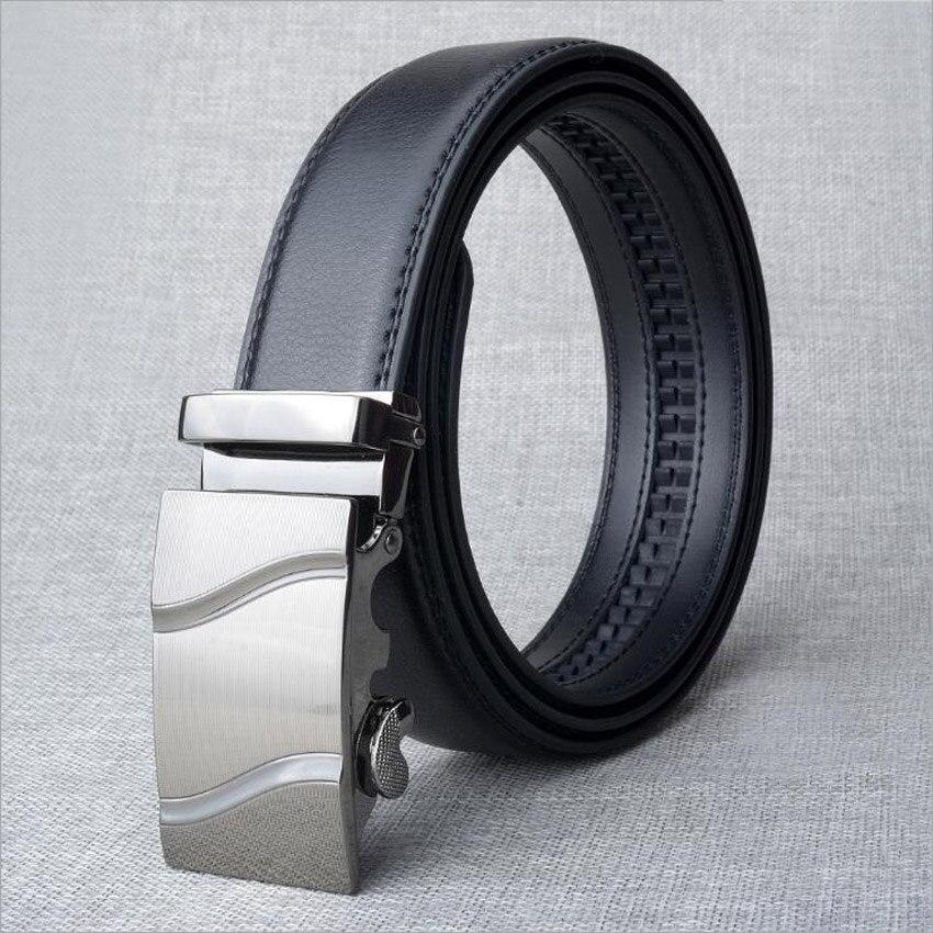 2018 Genuine Leather Men Black Belt Male Automatic Buckle Belt Leather Jeans Waistband Quality Assuarance ZLB274