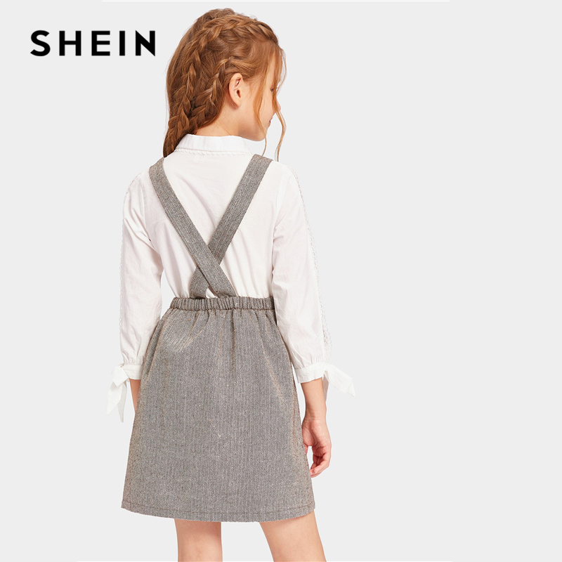 Shein Kiddie Grey Double Button Dress Shein Young Girls Collection