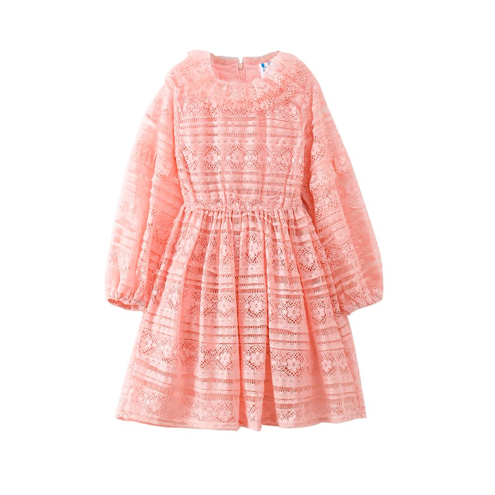 B-S34 New Fashion Spring Girls Casual Dresses Early Summer Long Sleeve Princess Dress 5-14T Teenager Kids Solid color Lace Dress