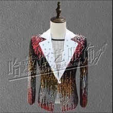 S-XXXL сценический костюм певец пиджак мужской костюм с пайетками ди-джей в ночном клубе сценический для певца костюмы больших размеров