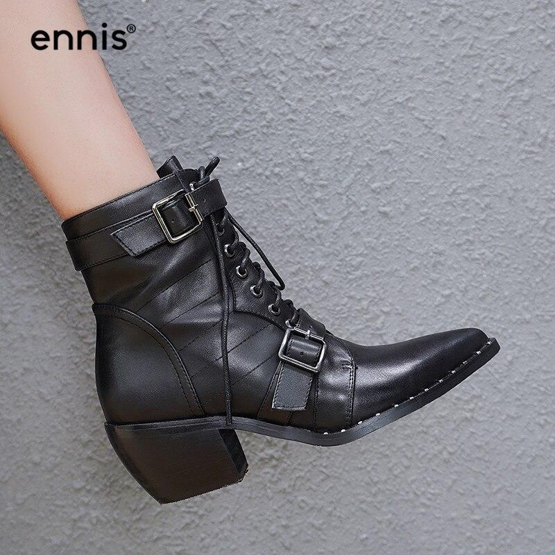 ce8cc3935e3 Encaje Genuino Grueso Tacón Black Zapatos Botas 2018 Hebilla Remache  Tobillo Estrecha Cuero Punta La Hasta Negro A8107 Otoño De Ennis Mujer Del  7Owqztw1n