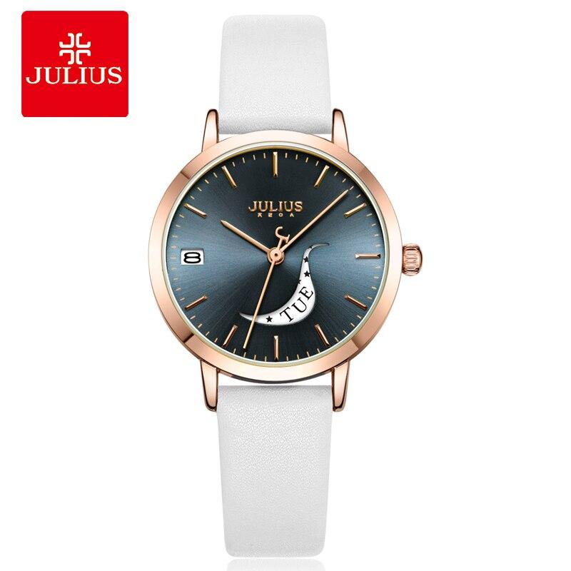Julius montre Auto jour squelette femmes montre à Quartz haut pour femme marque de luxe femme montre-bracelet fille horloge Relogio Feminino JA-1076 - 6