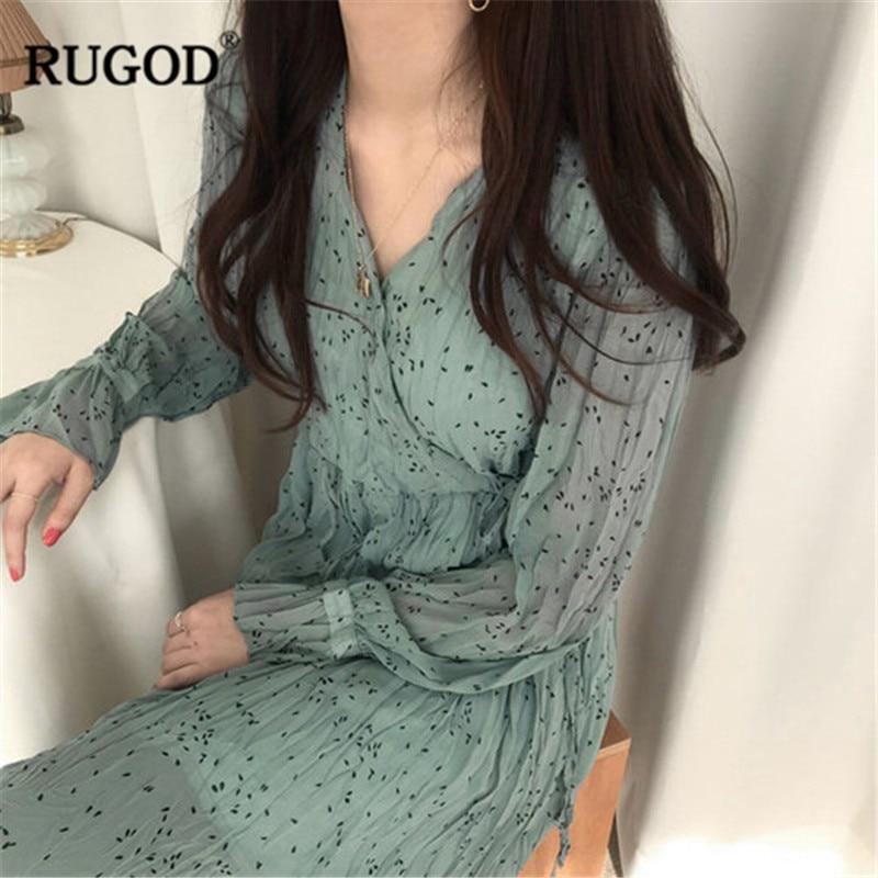 RUGOD Vintage plissée longue maxi robe femmes printemps été boho style imprimé plage fête robes en mousseline de soie femme robe à lacets