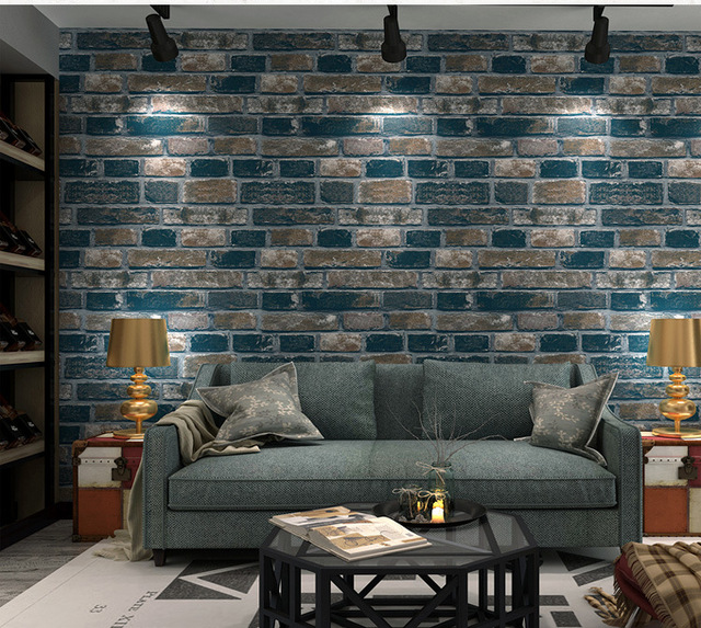 3D Non Woven Thick Heavy Vinyl WallPapers Rustic Pattern Faux Textured Brick Wall Effect Wallpaper