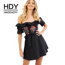 купить HDY Haoduoyi  Brand New Arrival  Casual Dress Short A-Line Floral Ruffles Female Dress Mini Butterfly Sleeve Summer Lady Dress по цене 910.53 рублей