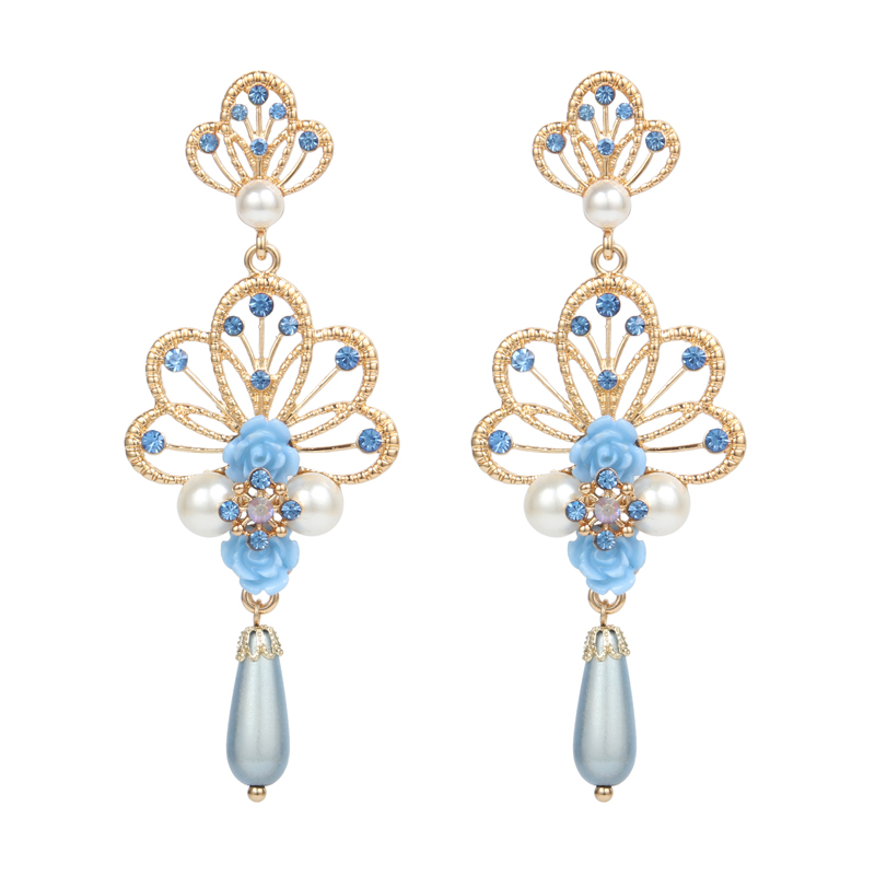 Alloy Earrings Gold For Women 2017 Trendy Crystal Pearl Earrings Jewelry Resin Flowers For Jewelry Making Imported-China