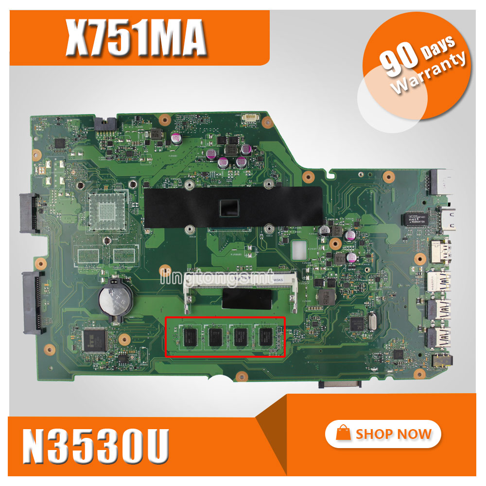 for ASUS X751MA motherboard X751MD REV2.0 100% teasted Mainboard Processor N3530 4G Memory On Board Original k75de motherboard qml70 la8371p rev 1a mainboard hd 7670 1g socket fs1 100% test