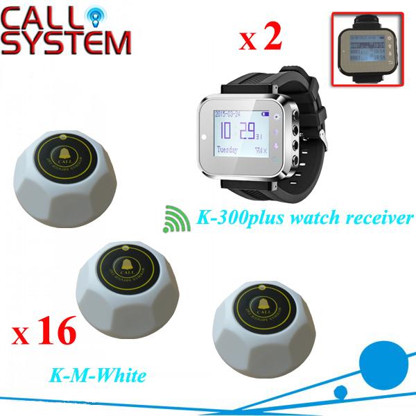 Relógio inteligente sistema de paginação para clínica, Botão sala de casa de 2 receptor de pulso 16