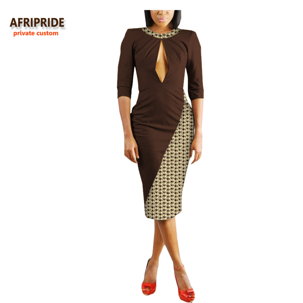 2018 summer sexy women dress AFRIPRIDE private custom half sleeve o neck hole on chest knee length sexy dress for women A7225140 in Dresses from Women 39 s Clothing