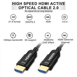 Image 4 - HDMI 2.0 ケーブル 4 18K 60Hz 光ファイバ HDMI ケーブル 2.0 2.0a 2.0b HDR hdtv 用 Xiaomi ボックスプロジェクター PS4 ケーブル HDMI 10 メートル 15 メートル 30 メートル 50 メートル