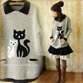 Japanese Autumn Winter Special Cartoon Cat Pattern Knitting Women's Gray Tricot Female Pullover Sweaters Cute Mori Girl T166