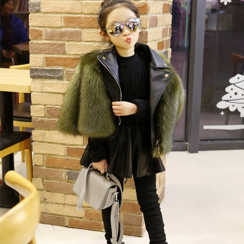 Winter Coat Faux Fox Fur Coat O-Neck Children's Faux Fur Outwear Long Sleeve Pink Fur Coat For Girls Locomotive fur one etosell women faux fox fur shaggy waistcoat long hair lapel vest coat camel l