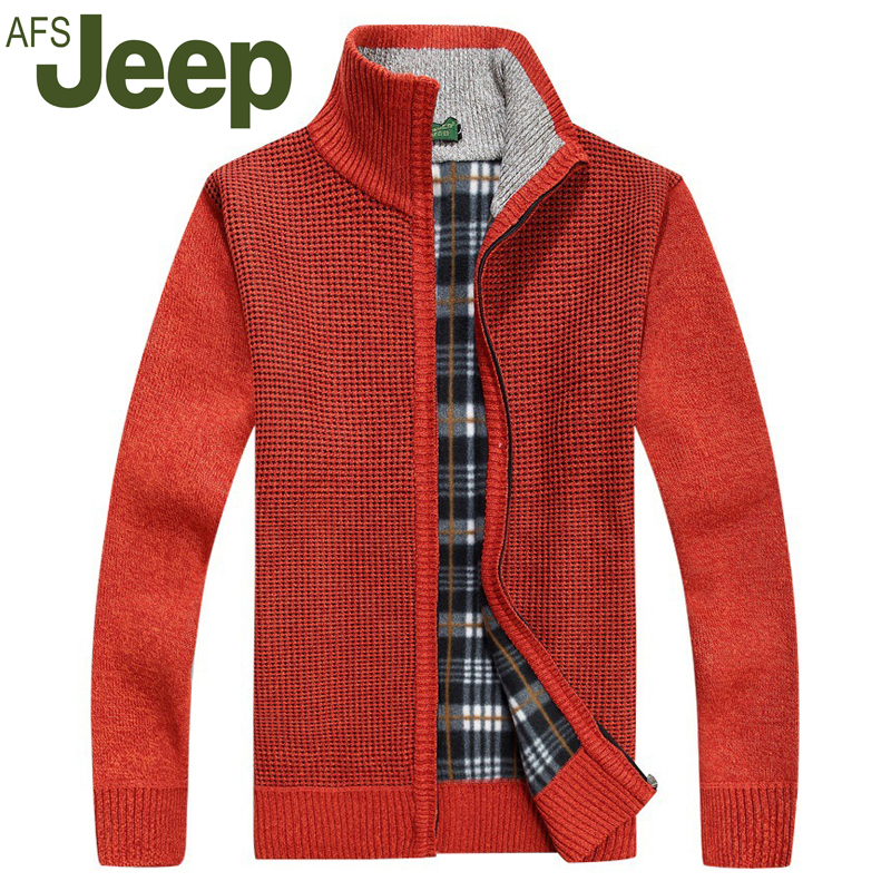 JEEP 2016 Warm thick velvet cardigan sweater men winter tops stand collar people wear loose fitting