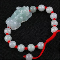 AAA Natural Burma Jadeite Pea Green Ice Feitsui Pixiu Charm Bracelet Lucky Red Rope for Fashion Men Women Gift+free certificate