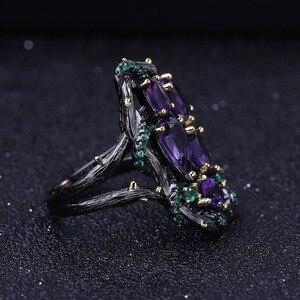 Image 4 - Gems Ballet 3.23Ct Natuurlijke Amethist Ringen 925 Sterling Zilveren Handgemaakte Hollow Element Ring Voor Vrouwen Bijoux Fijne Sieraden